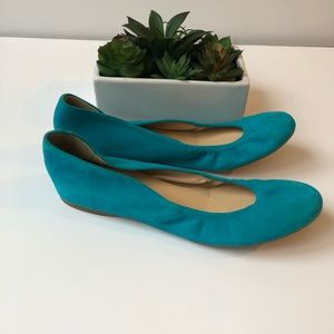 J.Crew Teal Blue Suede Shoes Flats Sz 8 1/2